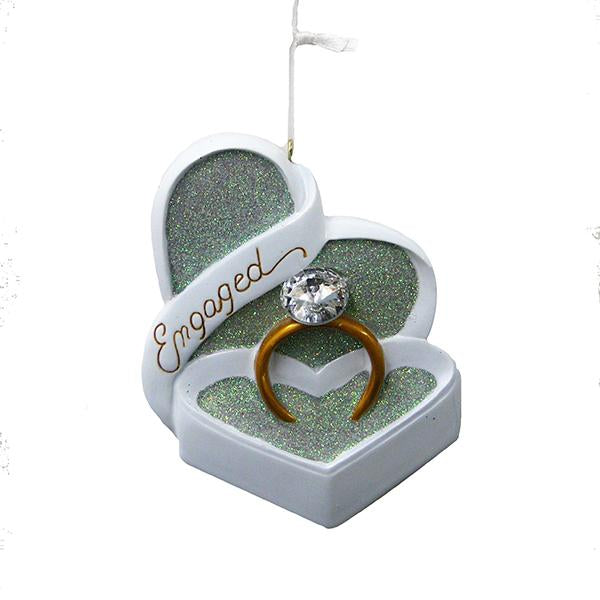 Kurt Adler Engagement Ring Ornament For Personalization, D2216
