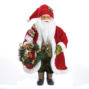 "Kurt Adler 18"" Fabric Mache Santa Wearing A Red Jacket With White Fur And Holding A Wreath., D2749"