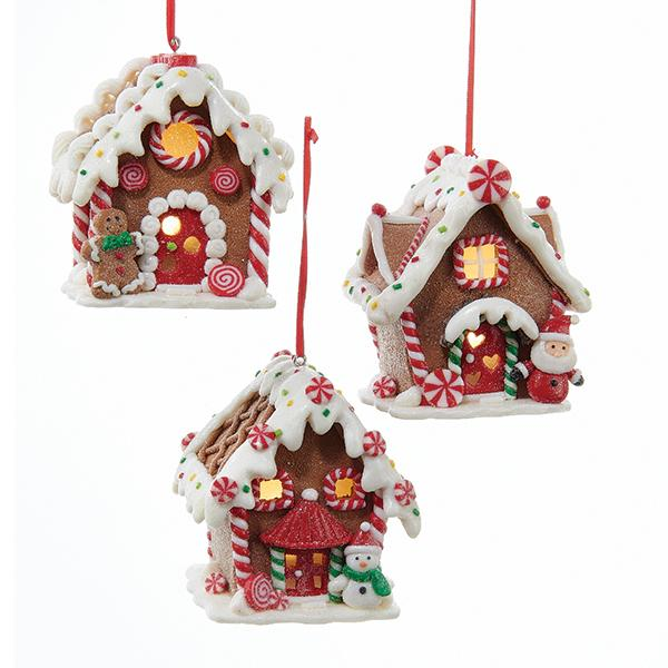 Kurt Adler Battery-Operated Lighted LED Gingerbread House Ornaments, 3 Assorted, D2881