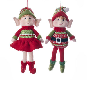 Kurt Adler Red and Green Boy and Girl Elf Ornament, 2 Assorted, D3234