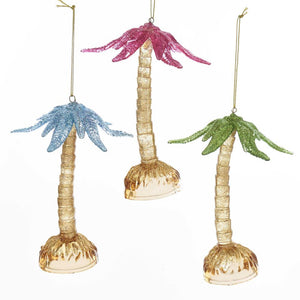 Kurt Adler Green, Pink and Blue Acrylic Palm Tree Ornaments, 3 Assorted, D3375