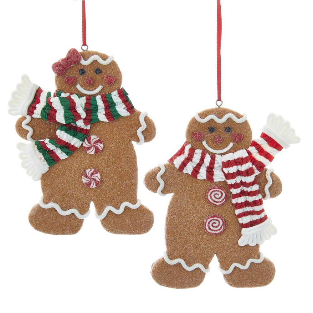 Kurt Adler Gingerbread Boy and Girl with Scarf Ornaments, 2 Assorted, D3392