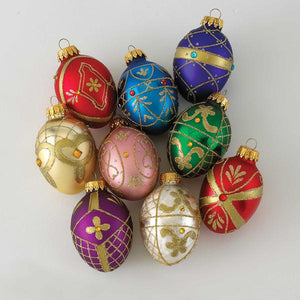Kurt Adler 45MM Miniature Decorative Egg Glass Ornaments, 9-Piece Box Set, GG0517