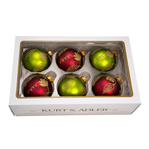 Kurt Adler 80MM Glass Green and Burgundy With Gold Leaves Design Ball Ornaments, 6-Piece Box Set, GG0834