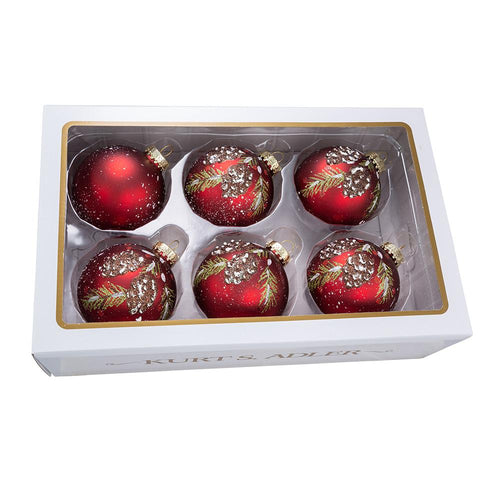 Kurt Adler 80MM Glass Red With Pinecone Design Ball Ornaments, 6-Piece Box Set, GG0839