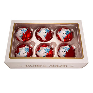 Kurt Adler 80MM Red Ball With Snowman Glass Ornaments, 6-Piece Box Set, GG0846