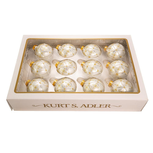 Kurt Adler 60MM Glass Silver Ball Ornament With Gold and Silver Design, 12-Piece Box Set, GG0850