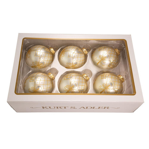 Kurt Adler 80MM Silver With Silver and Gold Glitter Design Ball Ornaments, 6-Piece Box Set, GG0901