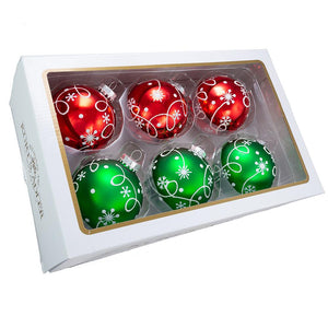 Kurt Adler 80MM Red and Green With White Swirl Design Glass Ball Ornaments, 6-Piece Box, GG0905