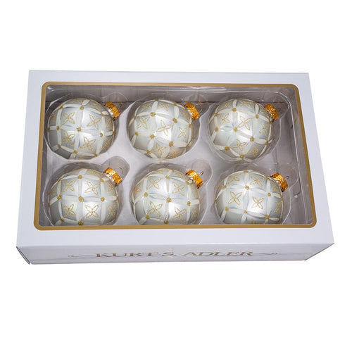 Kurt Adler 80MM Silver With Gold and Silver Glitter Design Ball Ornaments, 6-Piece Box Set, GG0910
