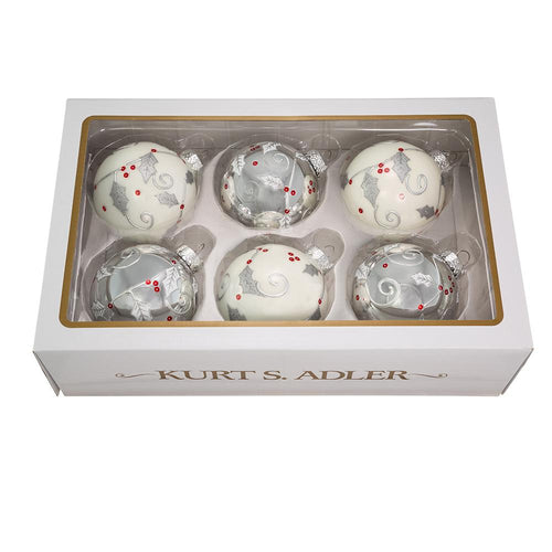 Kurt Adler 80MM White and Silver Glass Ball Ornaments With Holly Design, 6-Piece Box Set, GG0914