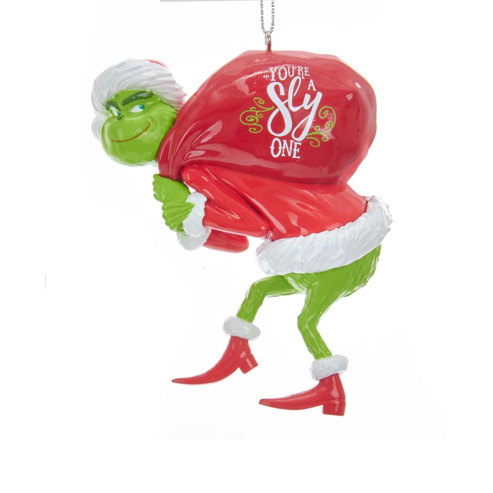 Kurt Adler The Grinch With Sack Ornament, GRH1184G