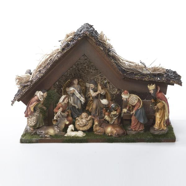 Kurt Adler 11-Piece Battery-Operated Musical LED Lighted Nativity Set With Stable, H3031