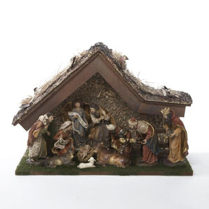 Kurt Adler 11-Piece Nativity Set With Stable, H3032