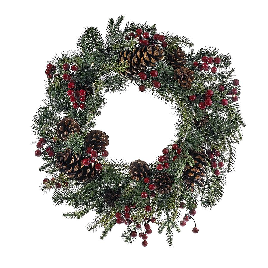 Kurt Adler 24-Inch Battery-Operated Pre-Lit LED Red Berry Pinecone Indoor/Outdoor Wreath, H4091