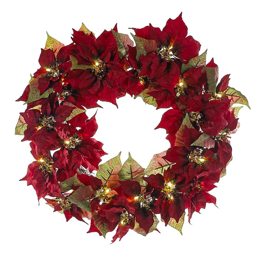 Kurt Adler 24-Inch Battery-Operated Pre-Lit Red Poinsettia Indoor/Outdoor Wreath, H4093