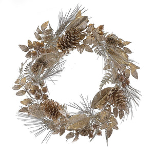 Kurt Adler 24-Inch Battery-Operated Pre-Lit LED Matte Gold Indoor/Outdoor Wreath, H4094
