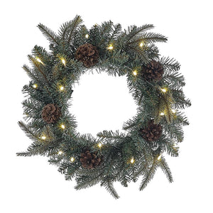 Kurt Adler 18-Inch Battery-Operated Pre-Lit LED Blue/Green Indoor/Outdoor Wreath, H4100