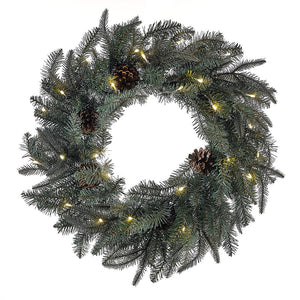 Kurt Adler 24-Inch Battery-Operated Pre-Lit LED Blue/Green Indoor/Outdoor Wreath, H4101