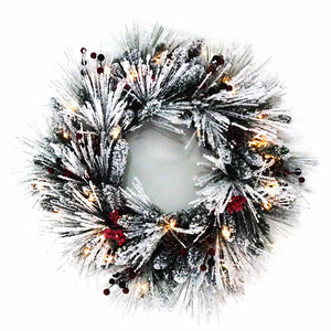 Kurt Adler 24-Inch Battery-Operated Winter Frost Berry Pre-Lit LED Wreath, H4103