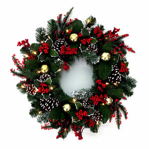 Kurt Adler 24-Inch Battery-Operated Holly with Berries and Pinecones Pre-Lit LED Wreath, H4109