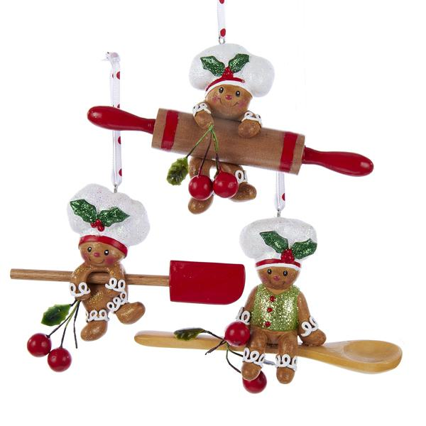 Kurt Adler Gingerbread Baking Tool Ornaments, H5024