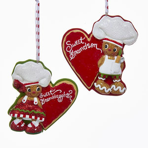 "Kurt Adler Gingerbread Chef ""Sweet Grandson/Granddaughter"" Ornaments For Personalization, 2 Assorted, H5131"