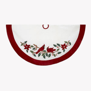 Kurt Adler 48-Inch Red and White With Cardinals Applique Velvet Tree Skirt, H5243