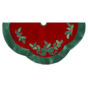 Kurt Adler 48-Inch Red With Green Leaves Applique Velvet Tree Skirt, H5244