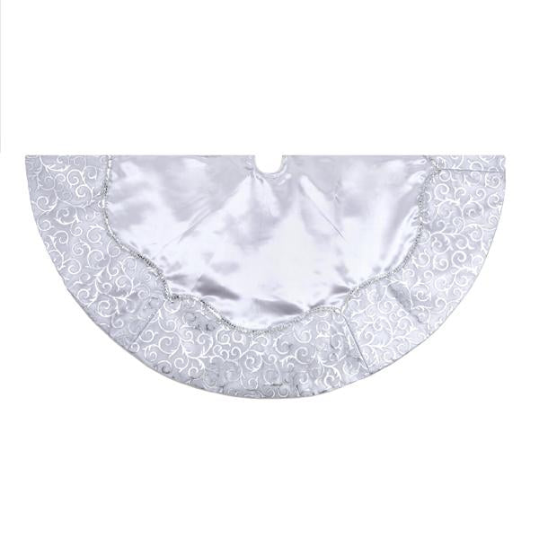 Kurt Adler 48-Inch Silver Satin With Printed Border Tree Skirt, H5248