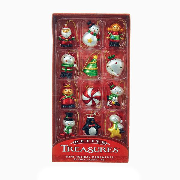 Kurt Adler Petite Treasures Vintage Style Ornaments, 12-Piece Box Set, H9551