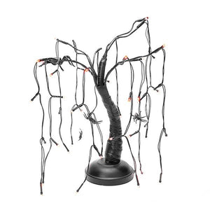 "Kurt Adler 15"" 48 Light Four Spider Black Branch Purple LED Tree With Bark, HW1670"