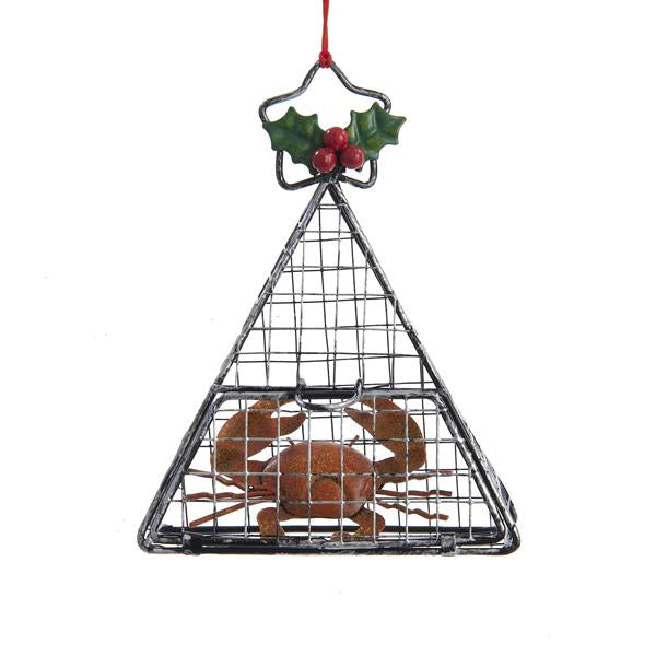 Kurt Adler Wire Cage With Crab Ornament, J1186