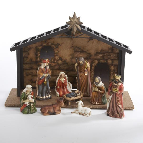 Kurt Adler 10-Piece Porcelain Nativity Set With Stable, J1257