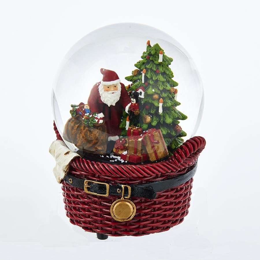 Kurt Adler 100MM Musical Santa Basket Water Globe, J3256