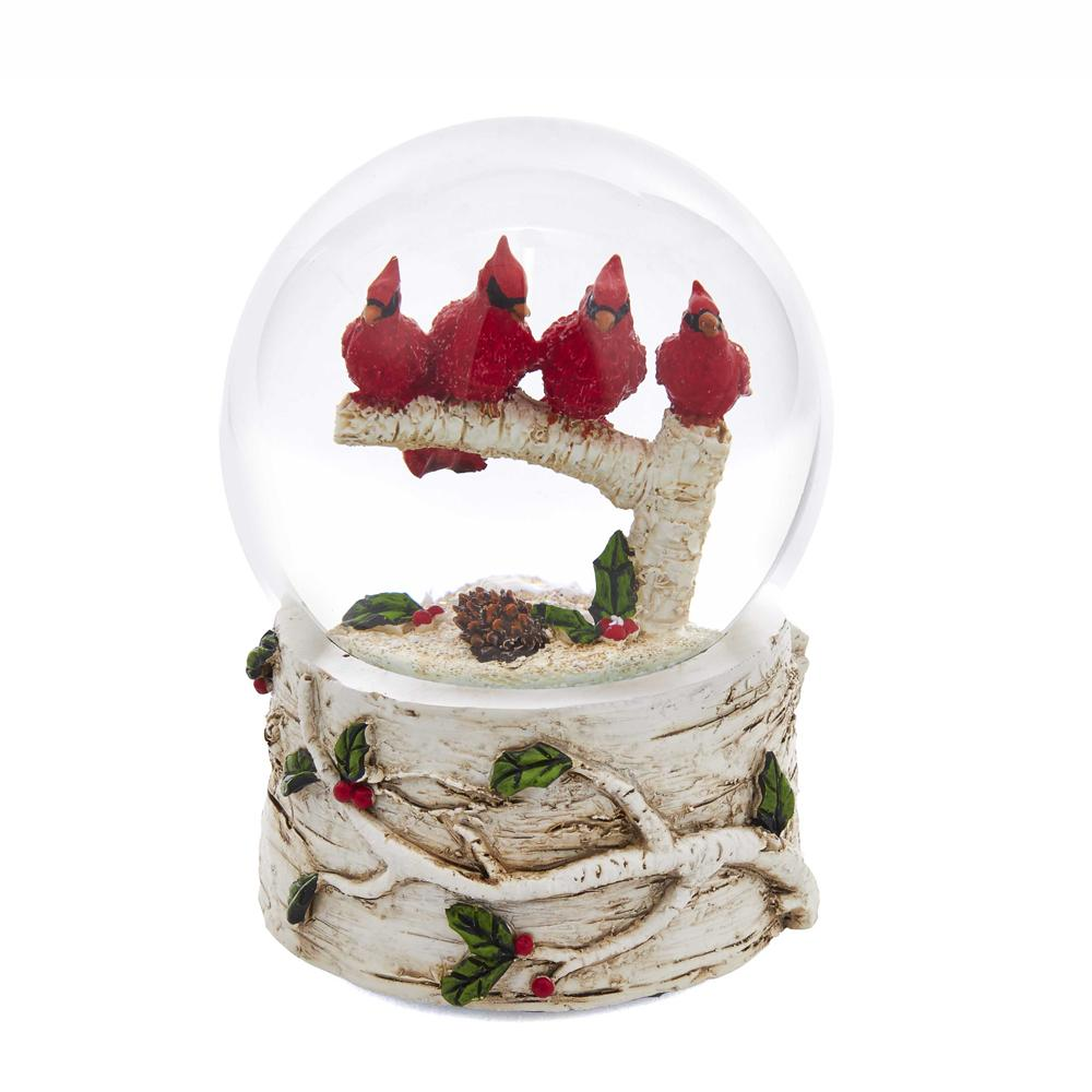 Kurt Adler 100MM Cardinals With Tree Musical Water Globe, J3261