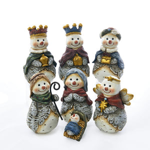 Kurt Adler 7-Piece Snowman Nativity Figurines, J7344