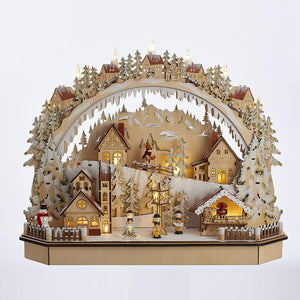 Kurt Adler Battery-Operated Lighted LED wooden Village House With Ice Skiers, J8413