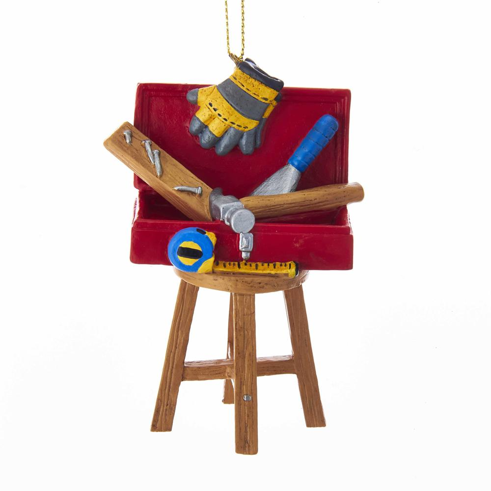 Kurt Adler Tool Box On Stool Ornament, J8503