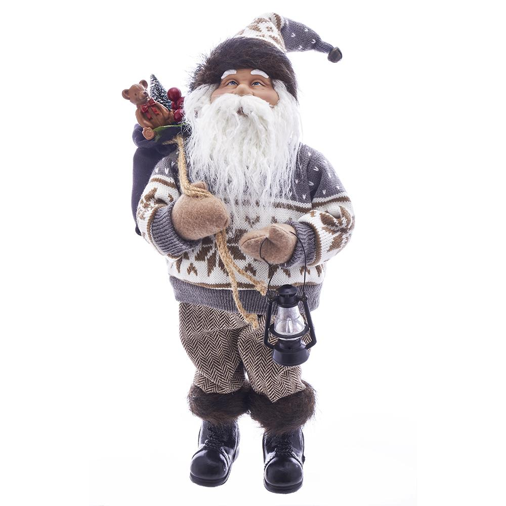 Kurt Adler 18-Inch Fabriche Woodland Santa With Lantern and Gift Bag, J8982