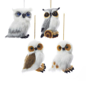 Kurt Adler Plush Owl Ornaments, 4 Assorted, JT0141