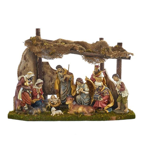 Kurt Adler 12-Piece Nativity Set With Stable, N0284