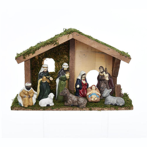 Kurt Adler Porcelain Nativity Set With 9 Figures, N0292
