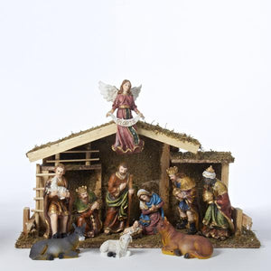 Kurt Adler 12-Piece Nativity Set with Wooden Stable, N1005