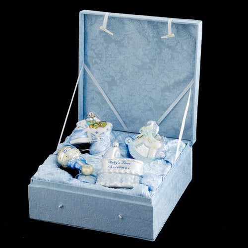 Kurt Adler Noble Gems Baby Boy Glass Ornament Set, 4-Piece Box Set, NB0017B