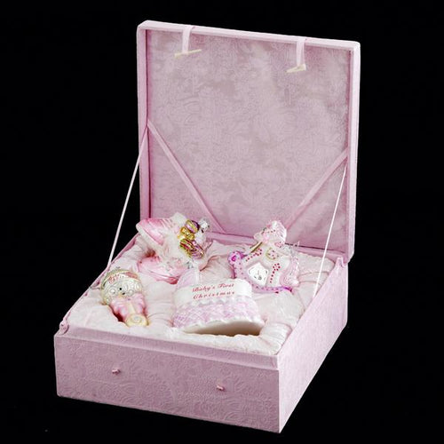 Kurt Adler Noble Gems Baby Girl Glass Ornament Set, 4-Piece Box Set, NB0017G