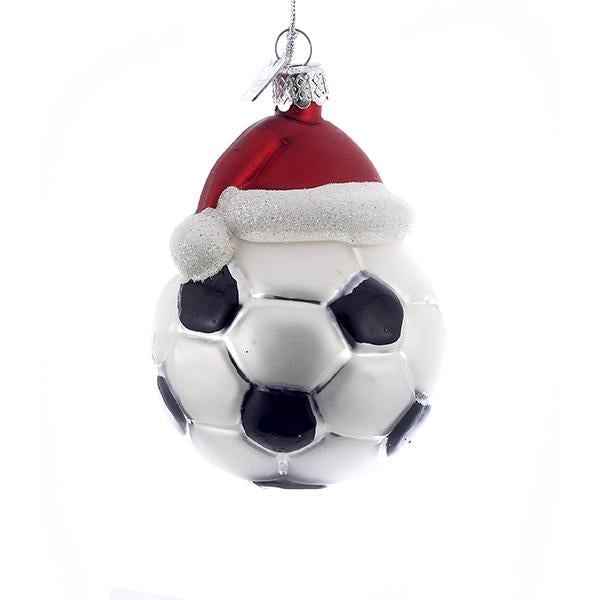 Kurt Adler Noble Gems Soccer Ball With Santa Hat Glass Ornament, NB0285