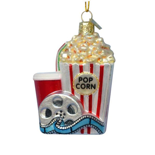 Kurt Adler Noble Gems Popcorn and Movie Glass Ornament, NB1058