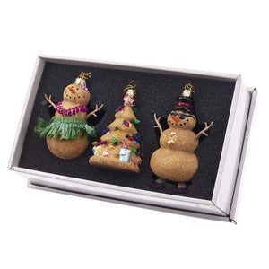 Kurt Adler Noble Gems Sand Snowman and Christmas Tree Glass Ornaments, 3 Piece Set, NB1327
