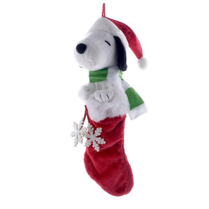 Kurt Adler Peanuts© Plush Head Snoopy Stocking With Snowflake Dangles, PN7111